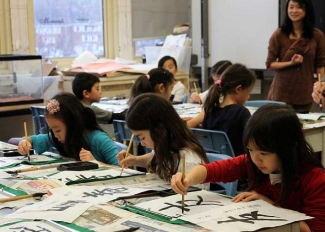 習字の授業風景